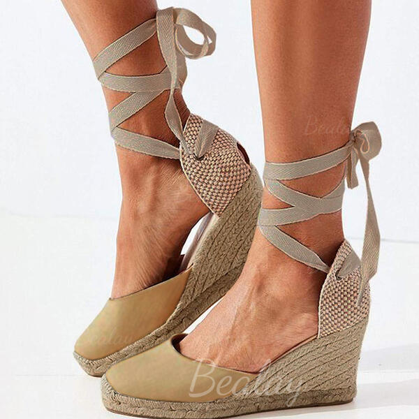 Women's PU Wedge Heel Closed Toe With Lace-up shoes