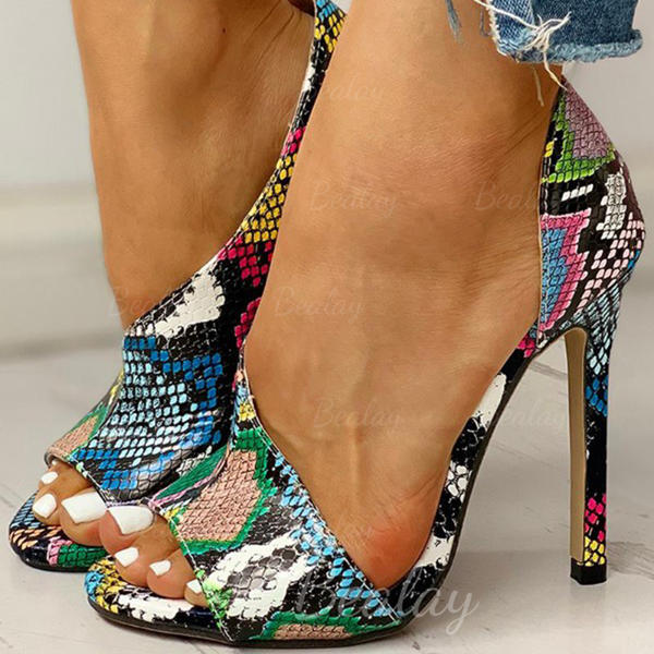 Women's PU Stiletto Heel Sandals Pumps Peep Toe Heels With Animal Print shoes