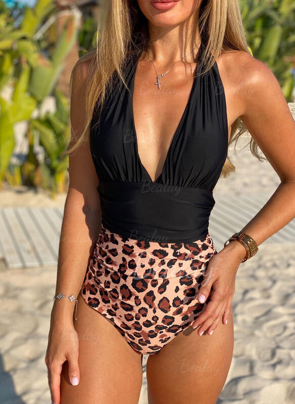 Leopard Splice color V-Neck Strapless Sexy Retro One-piece Swimsuits