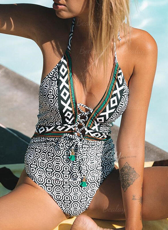 Floral Cross V-Neck One-piece Swimsuits