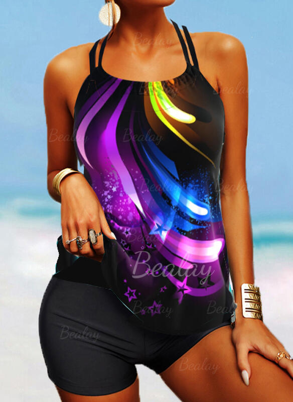 Splice color Strap U-Neck Retro Boho Tankinis Swimsuits