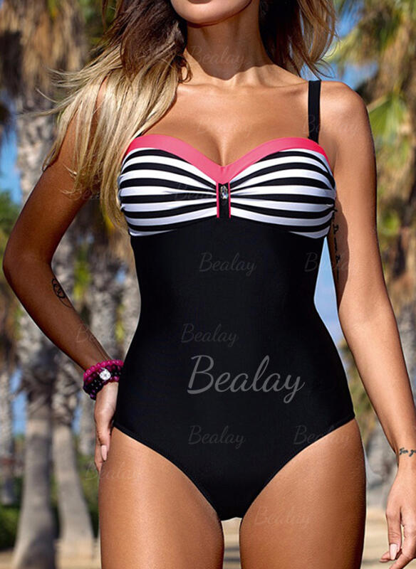 Stripe Plaid Strap Classic Casual One-piece Swimsuits