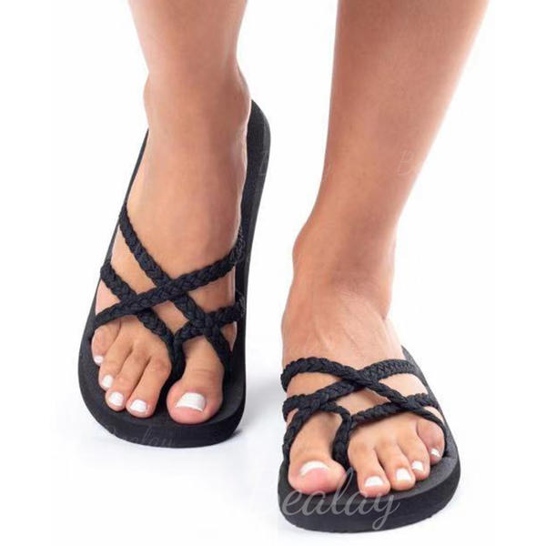 Women's Fabric Flat Heel Sandals Slippers With Braided Strap shoes