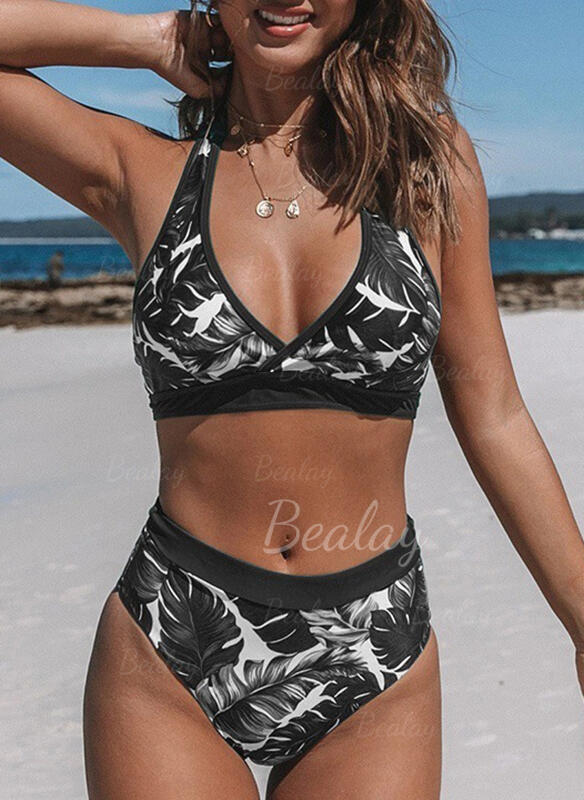 High Waist Print V-Neck Bohemian Bikinis Swimsuits