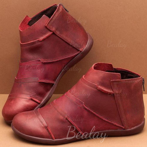 Women's PU Flat Heel Boots With Zipper shoes
