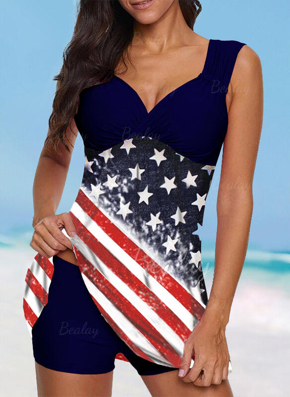 Flag Star Strap V-Neck Vintage Plus Size Swimdresses Swimsuits