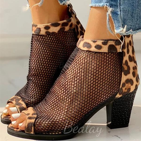 Women's Leatherette Chunky Heel Pumps With Animal Print Hollow-out shoes