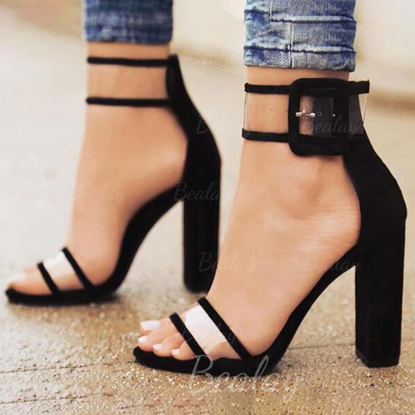 Women's Fabric Stiletto Heel Sandals Pumps With Buckle shoes