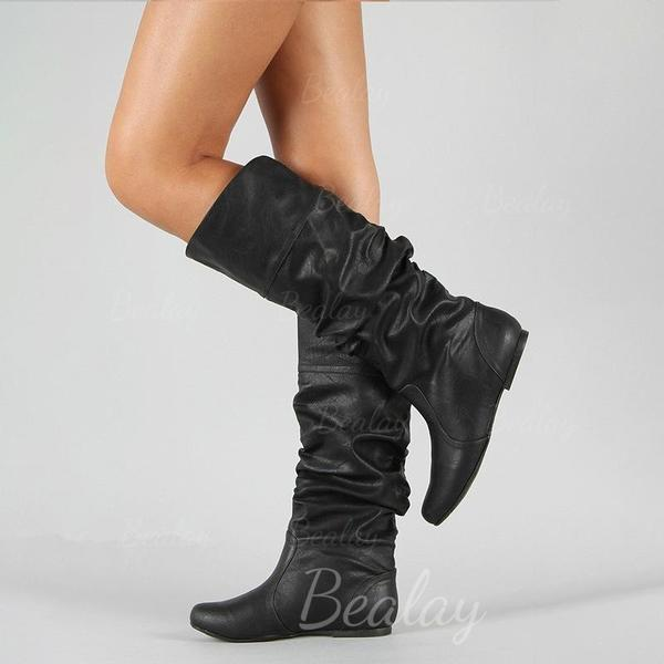 Women's PU Low Heel Knee High Boots With Ruched shoes