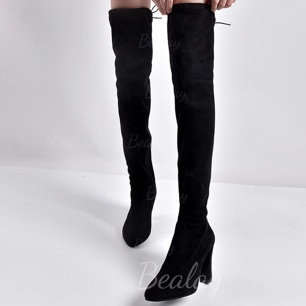 Women's PU Chunky Heel Pumps Closed Toe Boots Over The Knee Boots With Zipper shoes