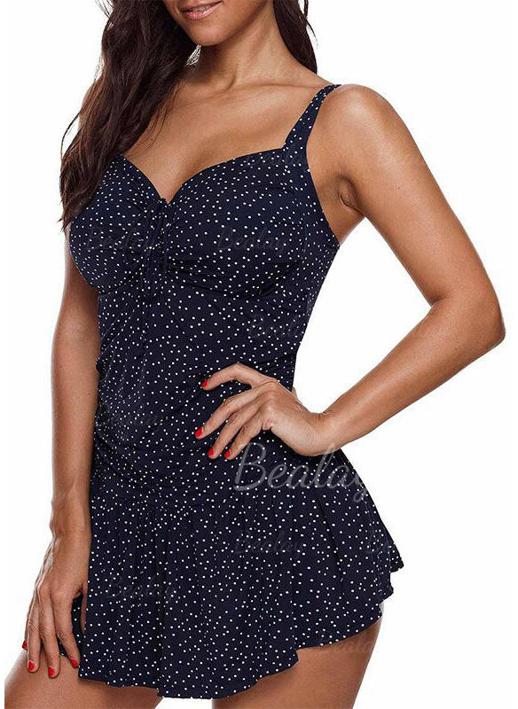 Dot Strap V-Neck Fresh Plus Size Swimdresses Swimsuits