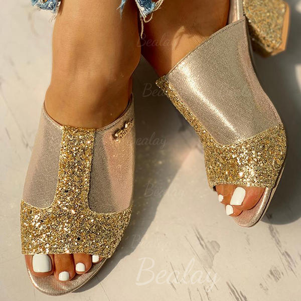 Women's PU Chunky Heel Sandals Peep Toe Slippers With Sequin shoes