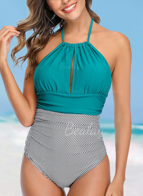 Stripe Halter Sexy Fresh One-piece Swimsuits