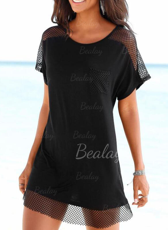 Solid Color Mesh Round Neck Elegant Classic Cover-ups Swimsuits