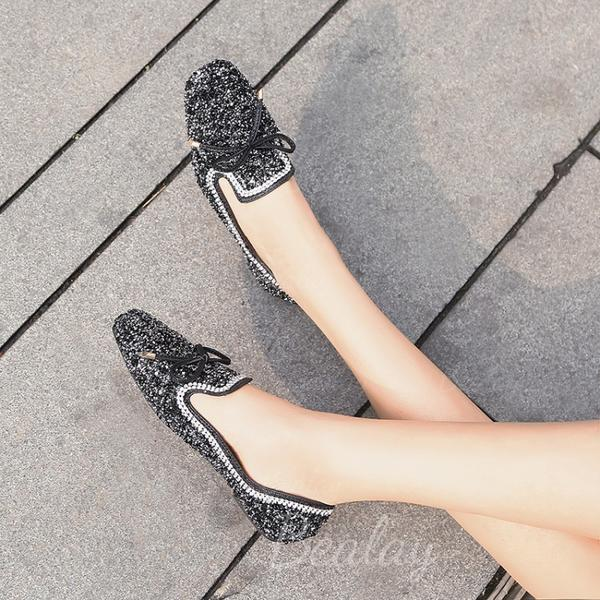 Women's Leatherette Flat Heel Flats With Sequin Sparkling Glitter shoes