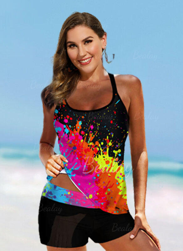 Print Strap U-Neck Plus Size Colorful Tankinis Swimsuits