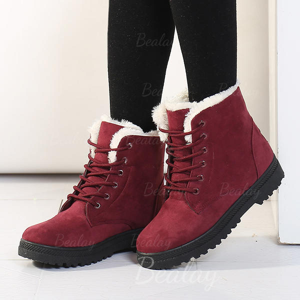 Women's Suede Flat Heel Flats Boots With Lace-up shoes