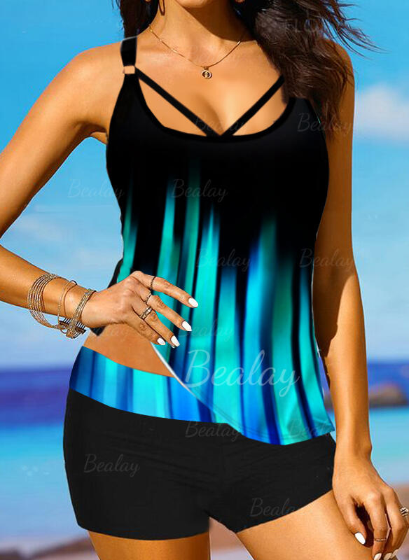 Stripe Splice color Halter V-Neck Boho Novelty Tankinis Swimsuits