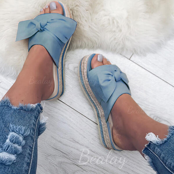 Women's Cloth Flat Heel Sandals Flats Peep Toe Slippers With Bowknot shoes