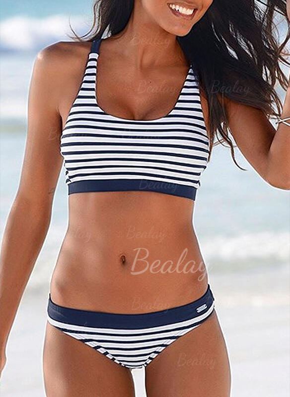 Stripe Low Waist Strap U-Neck Elegant Classic Bikinis Swimsuits