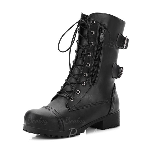 Women's Leatherette Low Heel Boots Mid-Calf Boots Riding Boots With Buckle Zipper Lace-up shoes