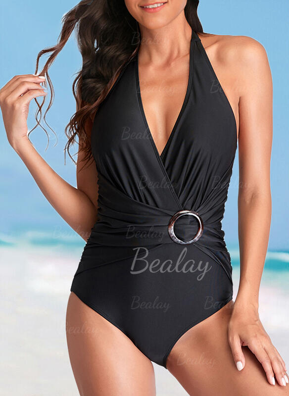 Solid Color Halter V-Neck Elegant Casual Exquisite One-piece Swimsuits