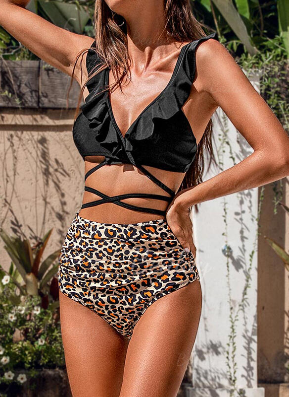 Leopard High Waist Lace Up Strap V-Neck Fashionable Beautiful Attractive Bikinis Swimsuits