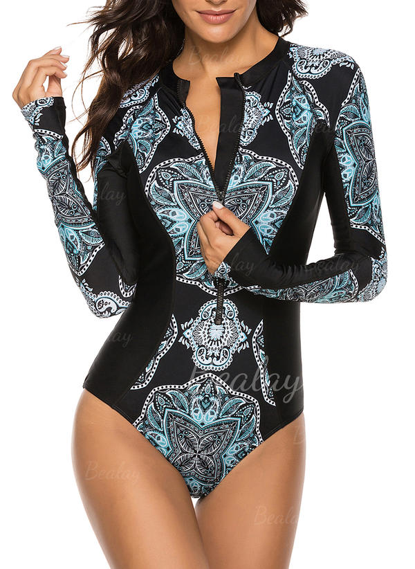 Print Splice color Long Sleeve High Neck Sports One-piece Swimsuits