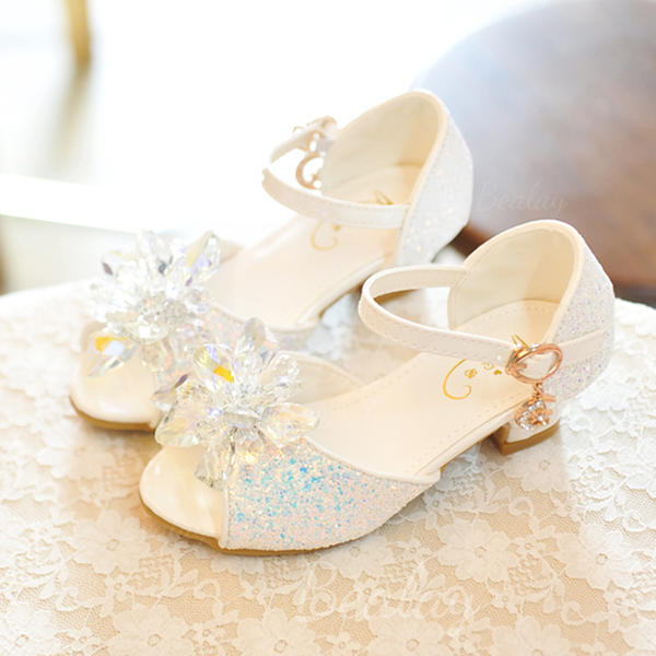 Leatherette Low Heel Peep Toe Sandals Flower Girl Shoes With Bowknot Buckle