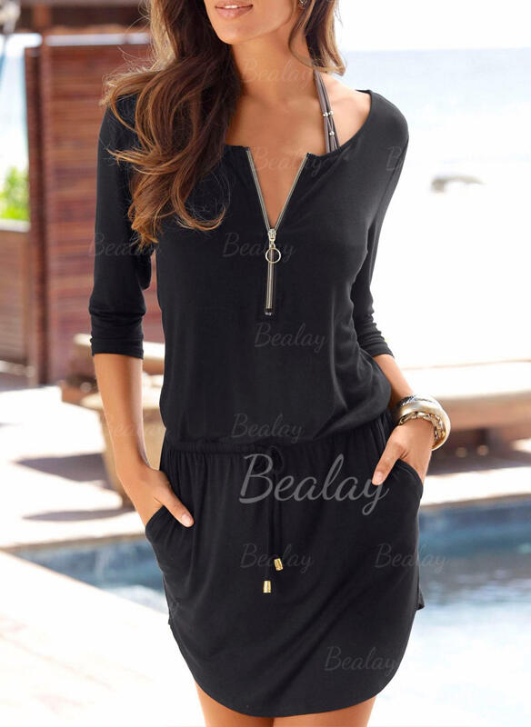 Solid Color Zipper V-Neck Fashionable Cover-ups Swimsuits