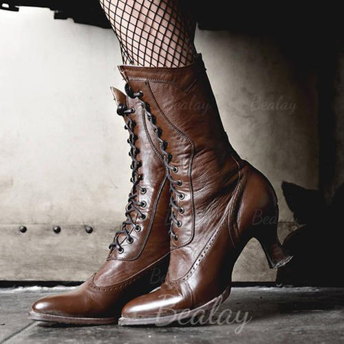 Women's PU Kitten Heel Boots Mid-Calf Boots With Lace-up shoes