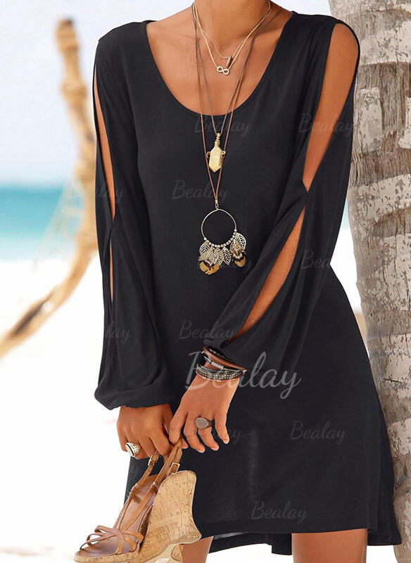 Solid Color Strap Round Neck Vintage Fresh Cover-ups Swimsuits