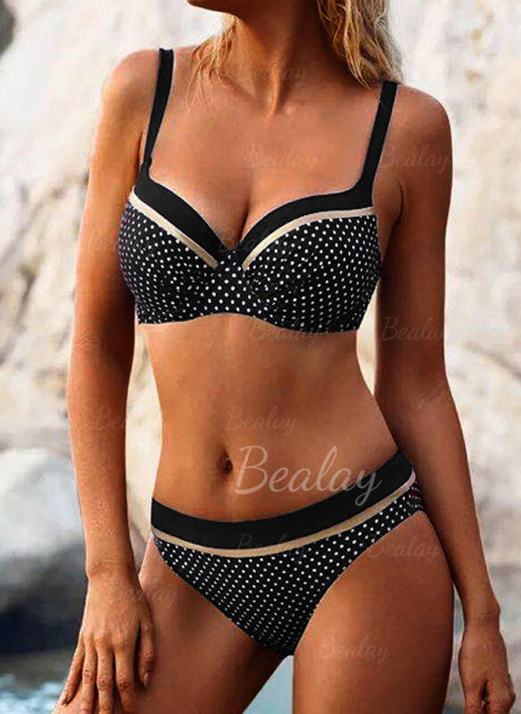 Solid Color Hollow Out Strap V-Neck Sexy Bikinis Swimsuits