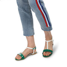 Women's PU Low Heel Sandals Flats Peep Toe Round Toe With Hollow-out Splice Color shoes