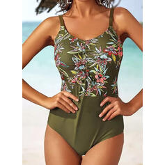 Print Splice color Strap Round Neck Colorful Casual One-piece Swimsuits