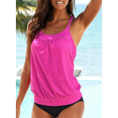Solid Color U-Neck Vintage Tankinis Swimsuits