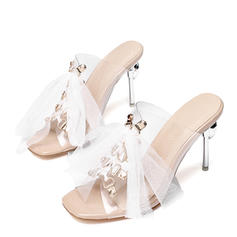 Women's Leatherette PVC Stiletto Heel Sandals Peep Toe Slingbacks With Lace-up shoes
