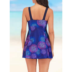 Colorful Strap Casual Tie-Dye Swimdresses Swimsuits