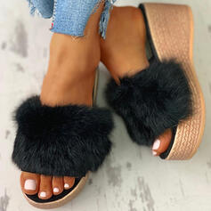 Women's Fabric Flat Heel Sandals Slippers With Faux-Fur shoes