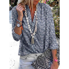 Print V-Neck 3/4 Sleeves Button Up Casual Blouses
