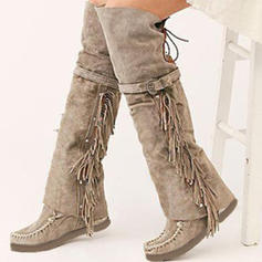 Women's Suede PU Flat Heel Boots Over The Knee Boots With Buckle Tassel shoes