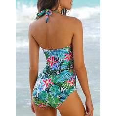 Tropical Print Halter Beautiful Plus Size One-piece Swimsuits