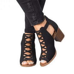 Women's Cloth Chunky Heel Ankle Boots With Buckle shoes