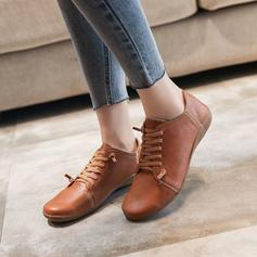 Women's PU Flat Heel Closed Toe With Lace-up shoes