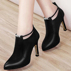 Women's PU Stiletto Heel Pumps Closed Toe Boots Ankle Boots With Buckle shoes
