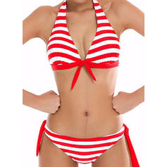 Stripe Low Waist Halter Elegant Bikinis Swimsuits