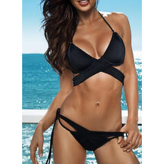 Solid Color Push Up Halter V-Neck Sexy Boho Bikinis Swimsuits