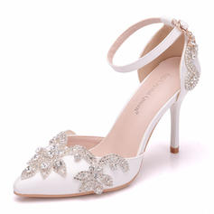Vrouwen Kunstleer Spool Hak Closed Toe Pumps met Kristal