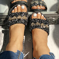 Women's PVC Flat Heel Sandals Peep Toe Slippers With Rhinestone Sequin shoes