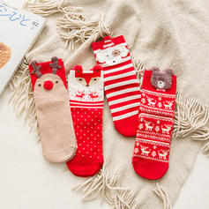 Women's Merry Christmas Snowman Reindeer Santa Cotton Christmas Socks (Set of 4)